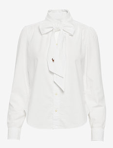 Cotton Tie-Neck Shirt - BSR WHITE