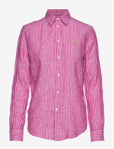 Relaxed Fit Linen Shirt - long-sleeved shirts - 542a pink/white