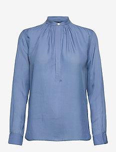 Silk-Blend Blouse - langermede bluser - lake blue