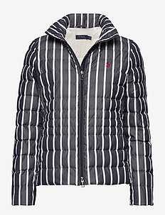 Striped Packable Down Jacket - down- & padded jackets - navy/white stripe