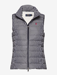 Striped Packable Down Vest - liivit - navy/white stripe