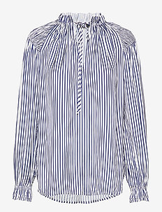 Striped Satin Shirt - 523 WHITE/BLUE