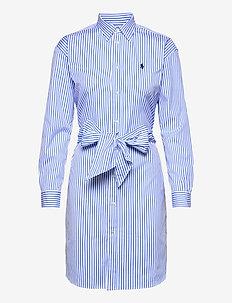 Striped Belted Shirtdress - hverdagskjoler - 784b white/blue