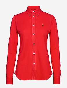 Cotton Knit Oxford Shirt - langermede skjorter - african red