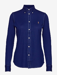 Cotton Knit Oxford Shirt - HOLIDAY NAVY