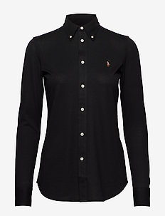 Cotton Knit Oxford Shirt - POLO BLACK