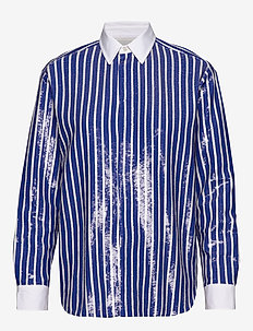 Sequined Stripe Shirt - long-sleeved shirts - blue/white