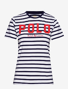 Striped Cotton Jersey Tee - logo t-shirts - white/cruise navy