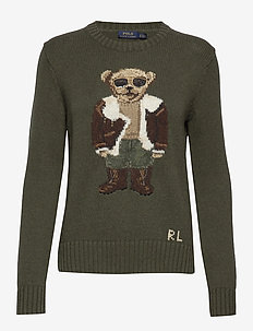 Aviator Polo Bear Sweater - jumpers - olive multi