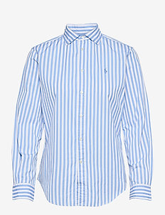 Striped Cotton Shirt - long-sleeved shirts - 921a lt blue/whit