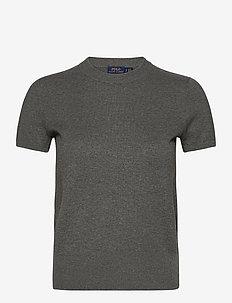 Cotton Short-Sleeve Sweater - hauts tricotés - antique heather