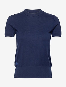 Cotton Short-Sleeve Sweater - hauts tricotés - bright navy