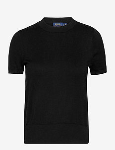 Cotton Short-Sleeve Sweater - knitted tops & t-shirts - polo black