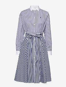 Cotton Shirtdress - paitamekot - 526 white/navy/52
