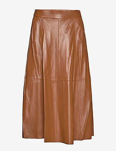Lambskin A-Line Skirt - SOFT BROWN