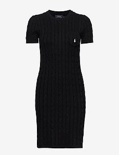 Cable-Knit Cotton Dress - sukienki dzianinowe - polo black