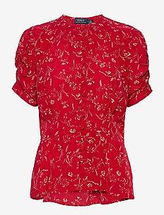 Crepe Peplum Blouse - blouses à manches courtes - 787 tender red fl