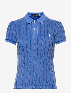 Cable-Knit Polo Shirt - poloskjorter - keel blue