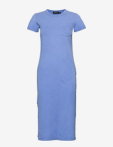 20/1 UNEVEN CTN JRS-SSL-CSD - midi dresses - harbor island blu