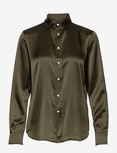 Silk Charmeuse Shirt - langærmede skjorter - expedition olive