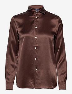 Silk Charmeuse Shirt - langærmede skjorter - mohican brown