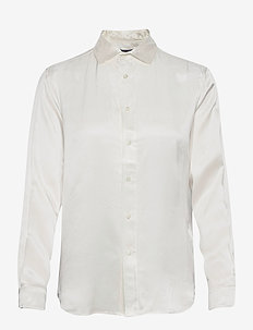 Silk Charmeuse Shirt - long-sleeved shirts - trophy cream