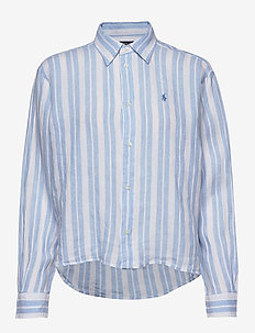 Striped Linen Shirt - långärmade skjortor - 779 blue lagoon/w