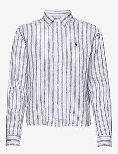 Striped Linen Shirt - långärmade skjortor - 780 white/royal b