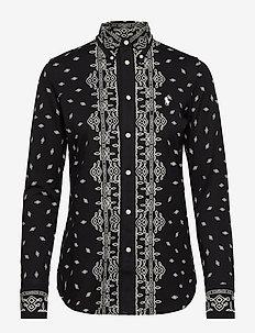 PRINTED KNIT OXFORD-LSL-KNT - long-sleeved shirts - new classic black