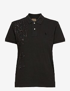 Classic Fit Rhinestone Polo - polohemden - black mask