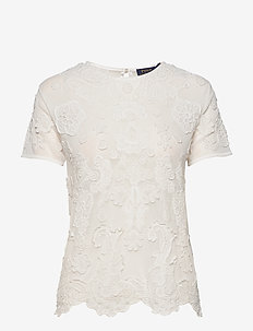 EMBROIDERY ON TULLE-SSL-KNT - short-sleeved blouses - nevis