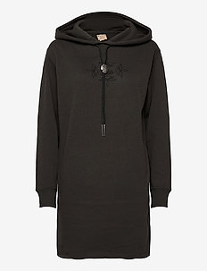 Bolo Fleece Hoodie Dress - midi dresses - black mask