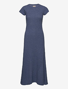 Cap-Sleeve Henley Dress - everyday dresses - river blue heathe