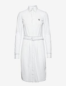 KNIT OXFORD-LSL-CSD - shirt dresses - white