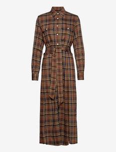 Tartan Plaid Maxi Shirtdress - sukienki koszulowe - 1121 fall multi p
