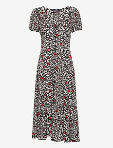Floral Crepe Dress - vardagsklänningar - 749 poppy field f