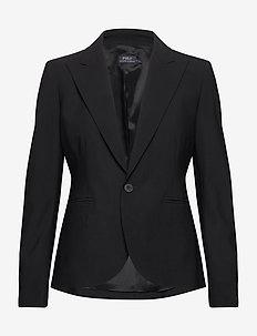 Stretch Wool One-Button Blazer - tailored blazers - polo black