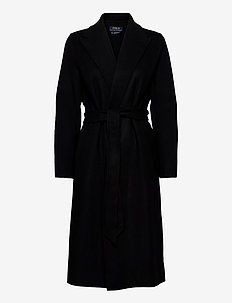 Wool-Blend Belted Coat - wool coats - polo black