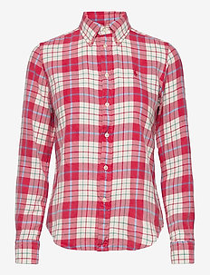 Plaid Cotton Twill Shirt - long-sleeved shirts - 768 faded red/cre