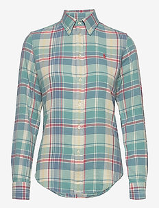 Plaid Cotton Twill Shirt - long-sleeved shirts - 770 faded teal/cr