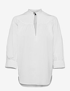 Cotton Oxford Keyhole Shirt - long sleeved blouses - white