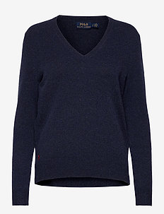 Wool-Blend V-Neck Sweater - gensere - boathouse navy he