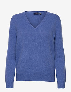 Wool-Blend V-Neck Sweater - gensere - deep blue heather