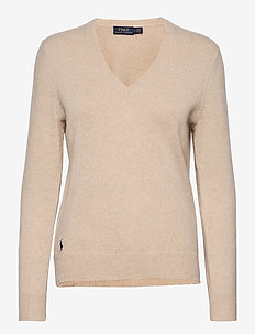 Wool-Blend V-Neck Sweater - gensere - tallow cream heat