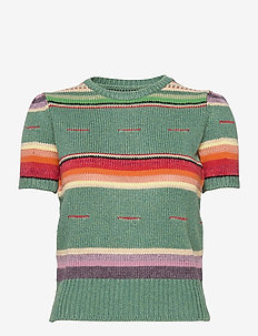Striped Short-Sleeve Sweater - pullover - multi