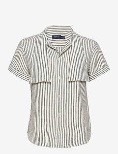 Y/D LINEN STRIPE-SSL-SHT - short-sleeved shirts - 542g nevis/polo b