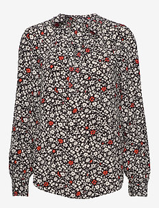 PRNTD VISC RYN CRPE-LSL-SHT - long sleeved blouses - 749 poppy field f