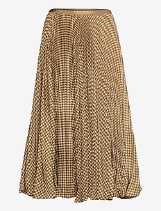 Houndstooth Pleated Skirt - midi kjolar - brown/tan houndst