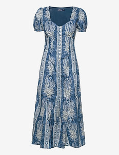 Floral Cotton Dress - maxi dresses - 755 midnight blue