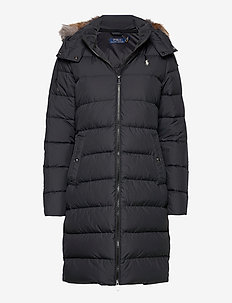 Faux Fur-Trim Down Coat - dunkåper - polo black
